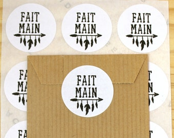 Lot of 48 gift stickers, stickers, handmade labels, feathers