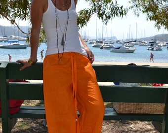 Mandarin orange linen pants with elasticated waist