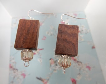 Wood Earrings, Natural Jewellery, Brown Earrings, Wooden Beads
