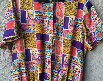 Purple and yellow patterned Lauren Lee blouse