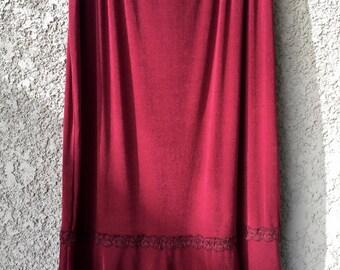 Deep Red Jaclyn Smith midi skirt