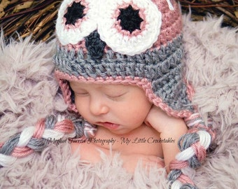 Crochet Owl Hat For Baby - Gifts For Newborn Baby Girl - Woodland Animals Baby Shower Gift - Halloween Baby Costumes - Woodland Photo Prop