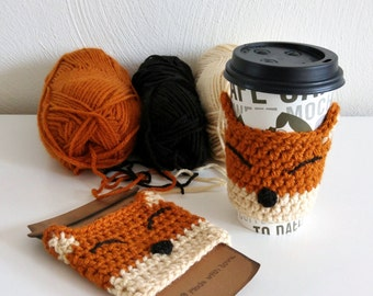 Happy Fox Cup Cozy | Fox Cup Cozy | Crochet Cup Cozy | Crochet Fox Cup Cozy | Crochet Fox | Cup Cozy | Crochet Fox Coffee Sleeve