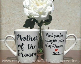 PERSONALIZED Mother of the Groom Father of the Groom coffee mug Wedding Party Gifts parent engagement gift Thank you for raising the man of