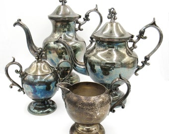 Silver Plate Tea Set, Silverplate Tea Set, Tea Pitcher, Silver Plate, Antique Tea Set, Silver Plated, Silverplate, Birmingham Silver Co