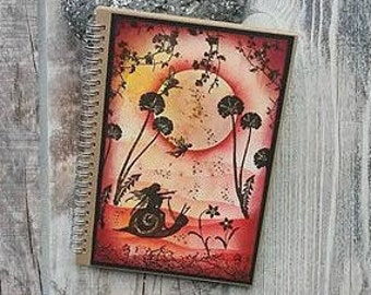A5 Handmade Fairy Notebook, Fairy Journal,Fairysparkled Journal, OOAK fairy Notebook, Fairy and snail notebook .sketch book