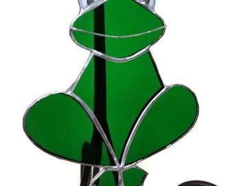 Stained Glass Frog Suncatcher, Green Glass Frog, Handmade, Window Decoration