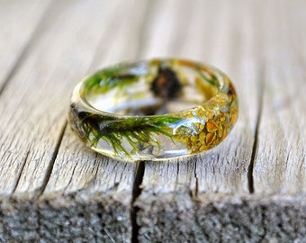 moss terrarium, natural moss, resin moss rings, nature rings, nature inspired rings,  resin ring flower, resin ring , eco resin ring