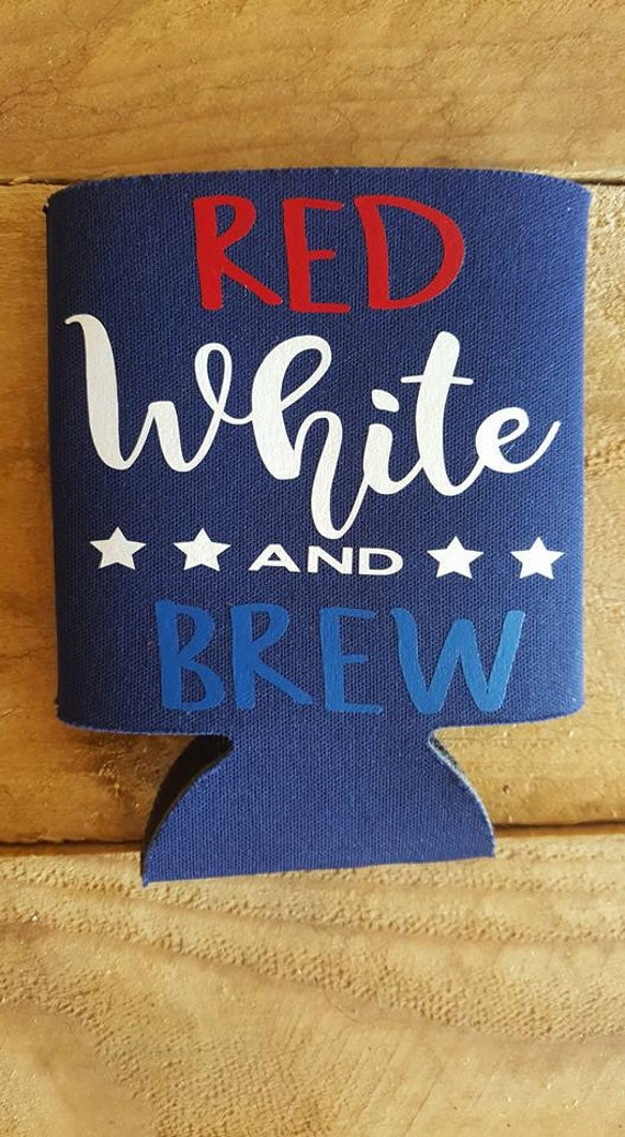 Kool A Brew Can Coolers ~ Red white brew can insulator cooler beer holder