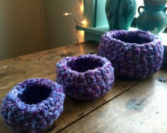 three purple nesting wool and silk bowls, handspun, hand dyed super soft,crocheted,