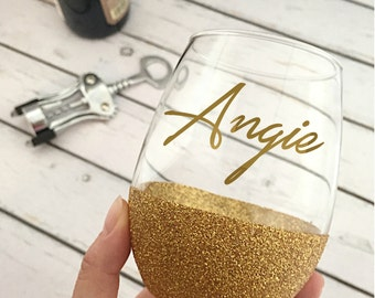 Personalized Wine Glass - Custom Wine Glass - Stemless Wine Glass - Glitter Dipped Wine Glass - Bridesmaid Gift - Calligraphy Glass - Gold