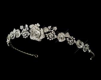 Floral Headband, Rhinestone Headband, Wedding Headpiece, Bridal Headpiece, Bridal Headband, Wedding Headband,Hair Accessories, Bridal Tiara