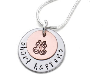 Short Happens Turner Syndrome Awareness Necklace | Hand Stamped Necklace | Fundraiser Jewelry | Cause Jewelry | Awareness Jewelry