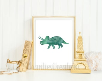 Triceratops Dark Green Watercolor Wall Art Printable. Printable Dinosaur Wall Art for Little Boys Room.