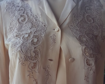 Cream Embroidery Cutout Pure Silk Blouse by Teresa ju'no