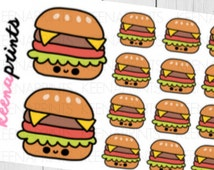 A172 | BURGER Repositionable Stickers Perfect for Erin Condren Life Planner, Filofax, Plum Paper & other planner or scrapbooking