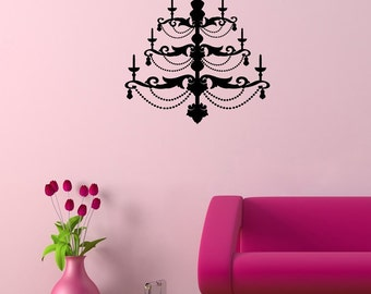 Beautiful Chandelier Silhouette Wall Decal