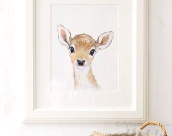 Deer Nursery Art, Deer Portrait, Fawn Nursery, Giclee, Woodland Animal Portrait , Fawn animal Print,  Deer Watercolor, Woodland Nursery Art