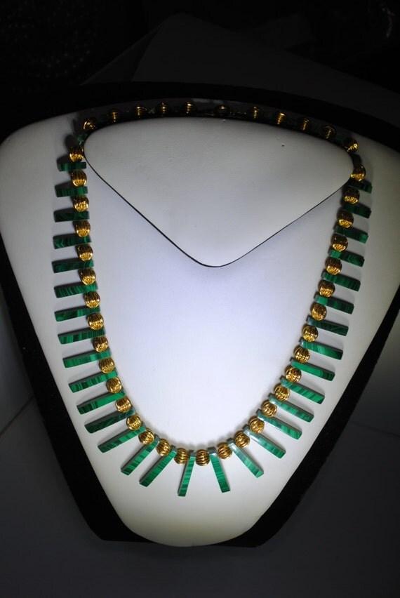 Egyptian malachite necklace