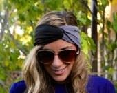 Black/Grey Jersey Headband, Twist Headband, Workout Headband, Boho Hair band, Yoga Headband, Twist Headband, workout headband