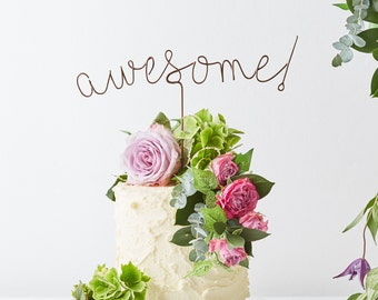 Awesome Cake Topper, Copper Cake Topper, Wire Cake Topper, Metallic Cake Topper, Industrial Cake Topper, wedding cake topper, cake topper