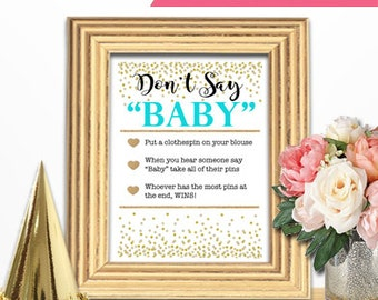 Baby Shower Game Download - DON'T SAY BABY - Teal and Gold - Instant Printable Digital Download - Baby Girl - diy Baby Shower Game Sign