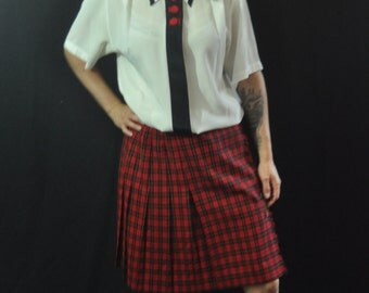 90's Sheer White Cream School Girl Wednesday Adams Blouse/ Sheer Cream Lolita Top/ Sheer Collared Blouse with Red Buttons and Black Trim