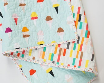 Modern Baby Quilt, Toddler Quilt, Baby Quilt, Baby Bedding, Crib Quilt, Baby Blanket, Nursery Decor, Summer Quilt, Ice cream Quilt