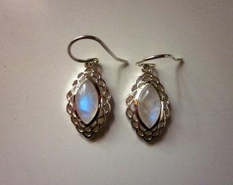 Rainbow Moonstone Marquise  Earrings -#79