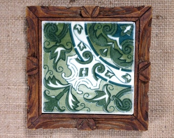 Vintage Retro Wood and Tile Trivet, Hand Carved Rustic Wood Frame, Green and White Mexican Tile, Green, White, Wood