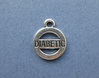 5 Diabetic Charms - Diabetic Pendants - Diabetic - Medical Charms -  Antique  Silver - 13mm x 16mm  --(X8-10241)