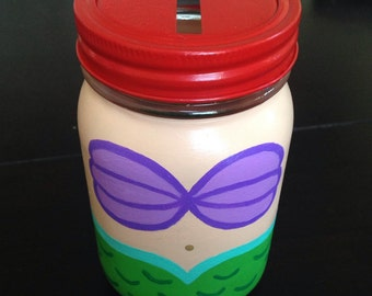 Disney's The Little Mermaid inspired hand painted piggy bank coin jar or drinking glass with straw