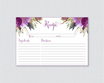 Purple Floral Bridal Shower Recipe Cards - Printable Bridal Shower Recipe Card and Invitation Insert - Purple and Gold Recipe Cards 0008