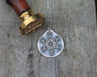 Hexagram fine silver wax seal pendant