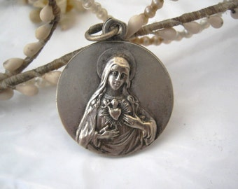 Our Lady of the Sacred Heart Antique French Religious Medal Pendant Charm Sacred Heart of Virgin mary