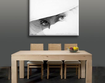 Canvas Wall Art, Unique Painting on Canvas, Portrait Painting, Grey Wall Art, Large Painting Portrait, White Wall Decor