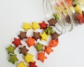 48 Fall Origami Stars: Red - Orange - Yellow - Green Brown - Autumn - Mini Star Decorations - Folded Paper - Lucky Stars - Fall Mix - Autumn