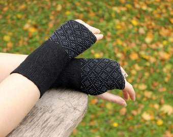 classic black long fingerless gloves, arm warmers with geometric pattern, wrist warmers beaded, fingerless gloves cuff, Christmas gift idea