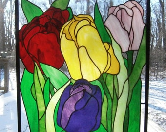 Four tulips stained glass panel, 19 x 22