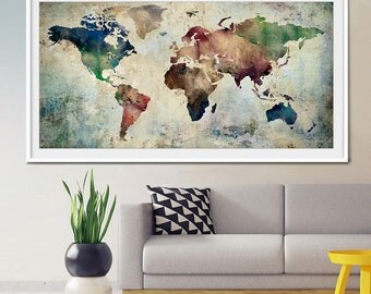 Large World Map Art, Extra Large Art, World Map Watercolor, Wall Art World Part 59