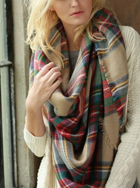 Soft Tartan Plaid Blanket Scarf Camel