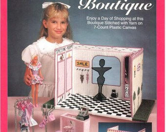 Fashion Doll Carry & Play BOUTIQUE, Plastic canvas pattern travel play set for Barbie by Sandra Miller-Maxfield, Needlecraft Shop 933730.