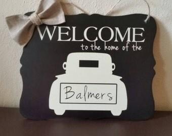 Welcome Sign, Door Hanger, Door Sign, Personalized Sign, Welcome Sign Door Hanger, Welcome Door Sign, Front Door Decor, Welcome Door Hanger