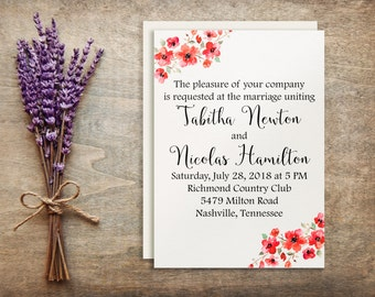 Floral wedding invitation printable, Invitation suite, Printable invitation, Printable wedding, Invitation set, DIY Do it Yourself BD-6001