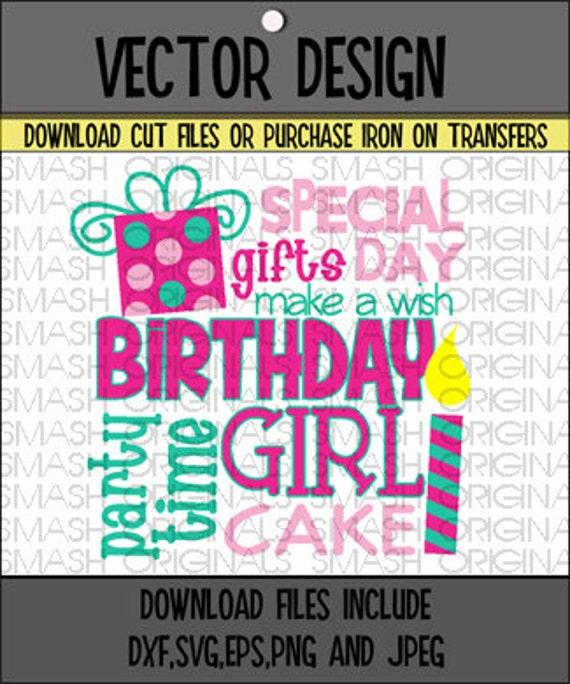 Birthday Girl Word Art Iron On Decal Vinyl By SmashOriginals