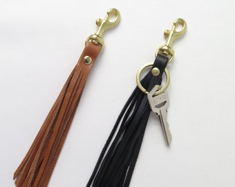 Leather Tassel Keychain. Leather Key Fob. Leather and Brass Key Chain