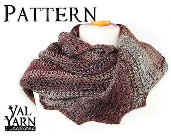 "Pattern Scarf-shawl crochet ""Dany"" level beginner easy"