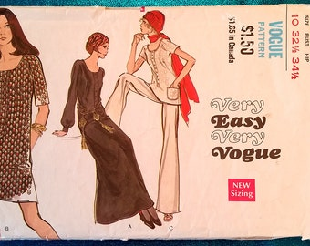 """Vintage 1970 dress, tunic, pants (trousers) sewing pattern - Vogue 7752 - size 10 (32.5"""" bust, 34.5"""" hip) - 1970's"""