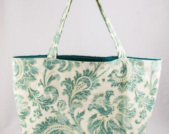 Shopping bag, Market bag, Tote bag, Floral, Green, Creme