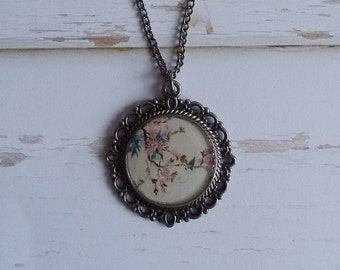 Cherry blossom with birds pendant necklace